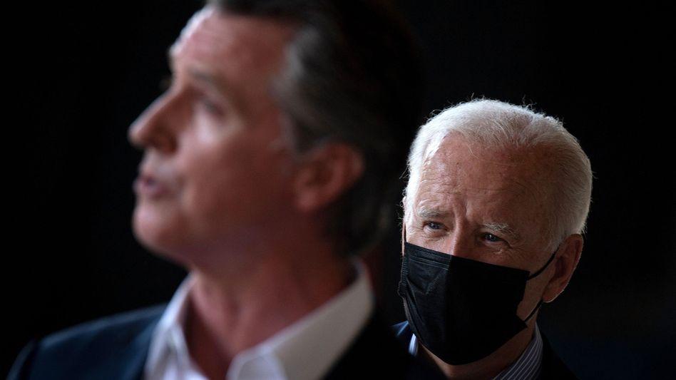 Kaliforniens Gouverneur Gavin Newsom, US-Präsident Joe Biden: Hoffnung auf die Wende