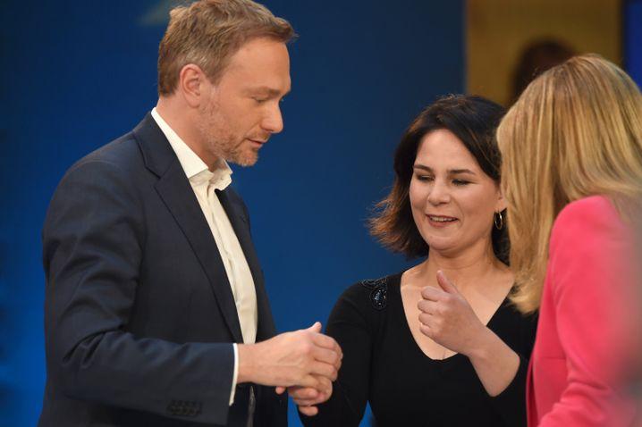 Konkurrenten Christian Lindner und Grünenchefin Annalena Baerbock (2019): Will sie sich mit der Linkspartei ins Kanzleramt wählen lassen?
