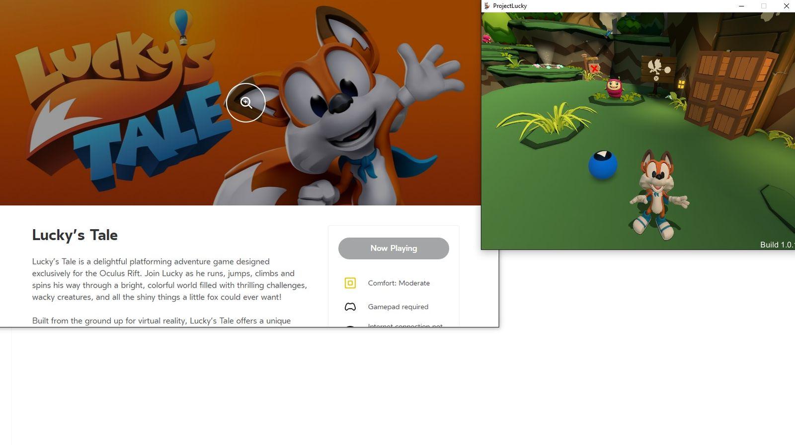 EINMALIGE VERWENDUNG VR Games/ Lucky's Tale/ Screenshot