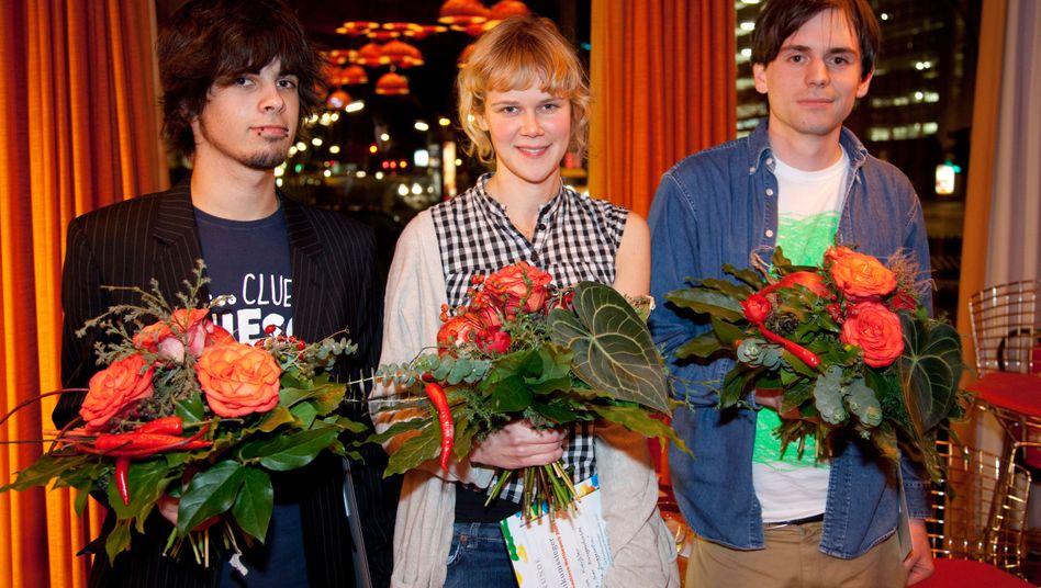 Die drei Gewinner des KulturSPIEGEL-Wettbewerbs: Jan Friedrich, Lisa Kreißler und Leif Randt