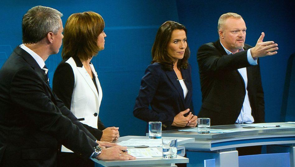 Duell-Moderatoren Peter Kloeppel, Maybrit Illner, Anne Will und Stefan Raab