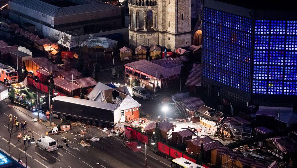 Der Weihnachtsmarkt am Breitscheidplatz nach dem Anschlag vom 19. Dezember 2016