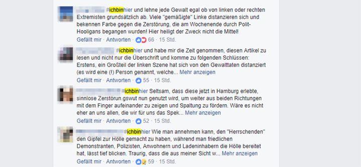 Screenshot von #Ichbinhier-Kommentaren