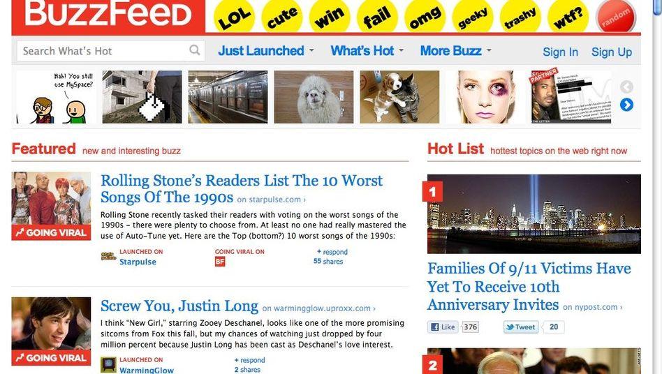"""""""BuzzFeed"""" (Screenshot): Für traditionelle Zeitungsleser ein bizarres Modell"""
