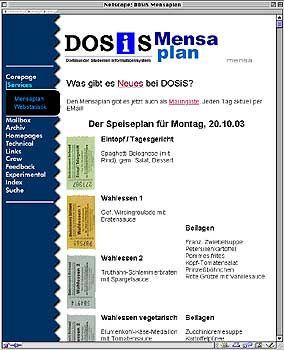 Mensaplan der Uni Dortmund im Web: Na also, geht doch