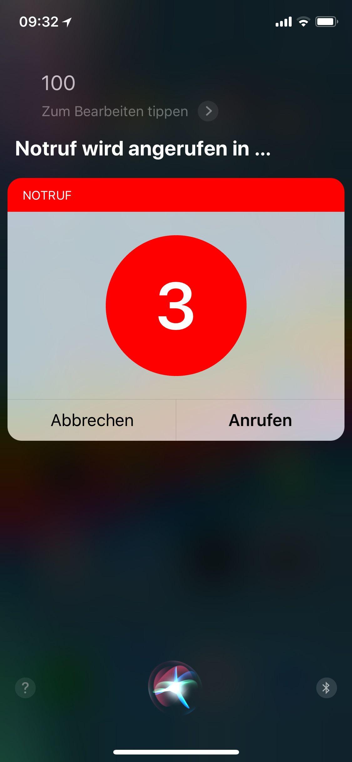 NUR ALS ZITAT Screenshot Apple Siri Notruf