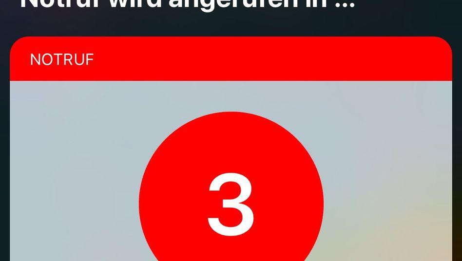 Notruf-Countdown auf einem iPhone