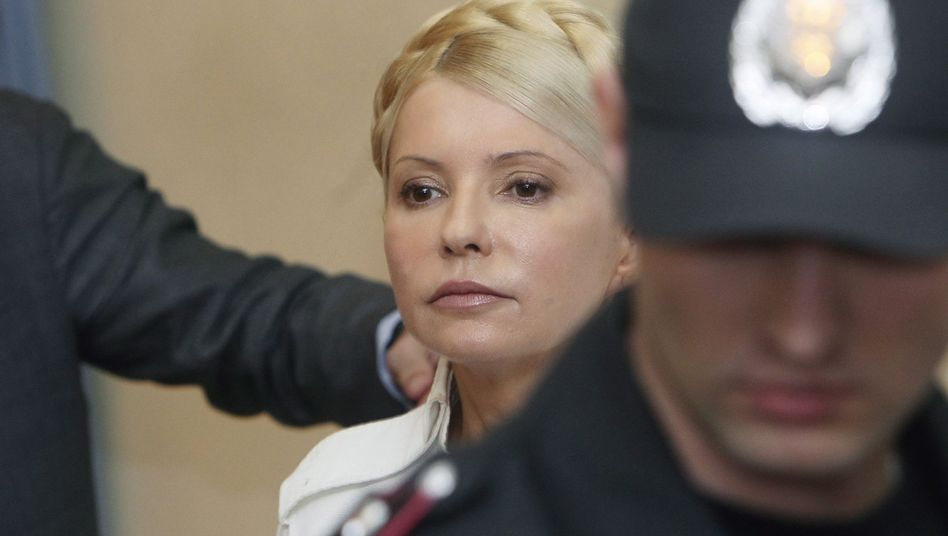 Former Ukrainian Prime Minister and opposition leader Yulia Tymoshenko during a June 2011 hearing in Kiev. She is currently serving a seven-year sentence for abuse of power.