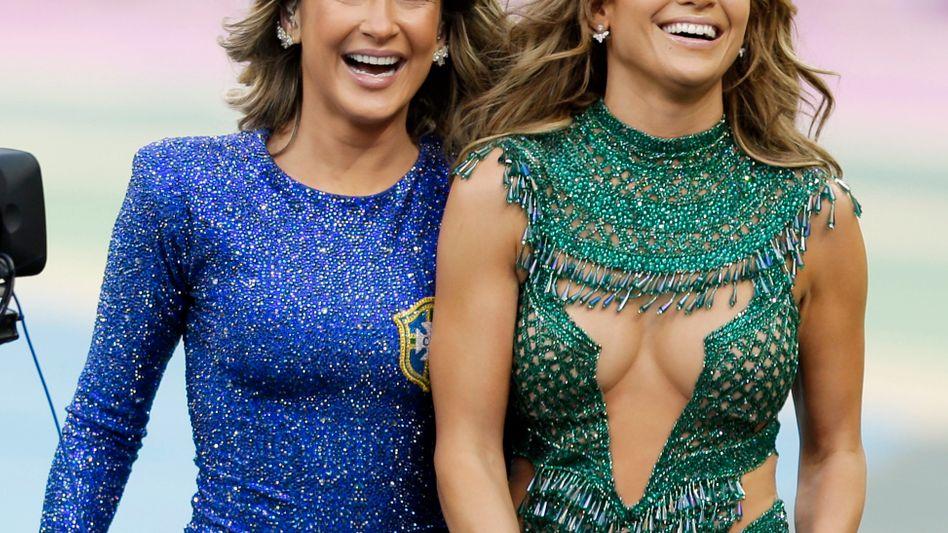 Claudia Leitte (l.) und Jennifer Lopez: Auftritt bei der Eröffnungsfeier