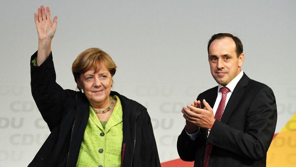 CDU-Politiker Merkel, Senftleben (Archivbild aus dem Bundestagswahlkampf 2017)