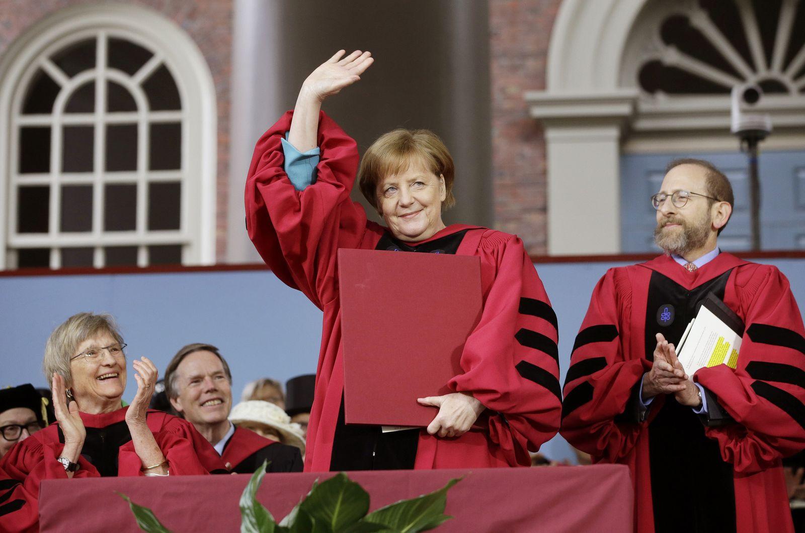Merkel Ehrengast der Universität Harvard in Cambridge