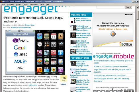 """iPod-Hack bei """"Engadget"""": Mit ein paar Tricks laufen auch """"fremde""""-Programme auf iPod touch und iPhone"""