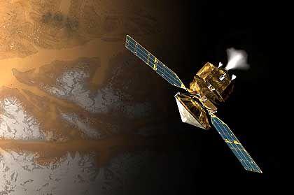"""""""Mars Reconnaissance Orbiter"""" (Zeichnung): Die Sonde wird im März 2006 ihre Umlaufbahn um den Mars erreichen"""