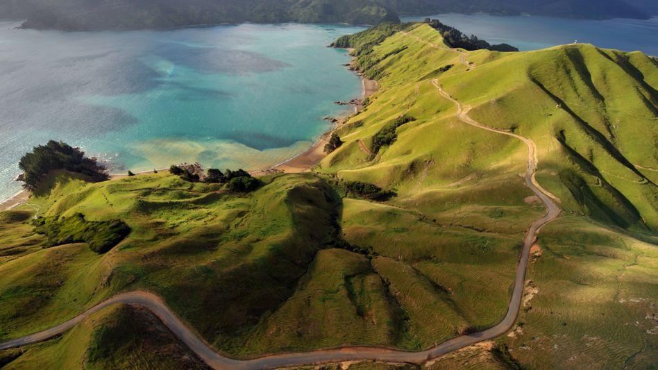 Im Norden der Südinsel von Neuseeland liegt die Landschaft von Marlborough Sounds.