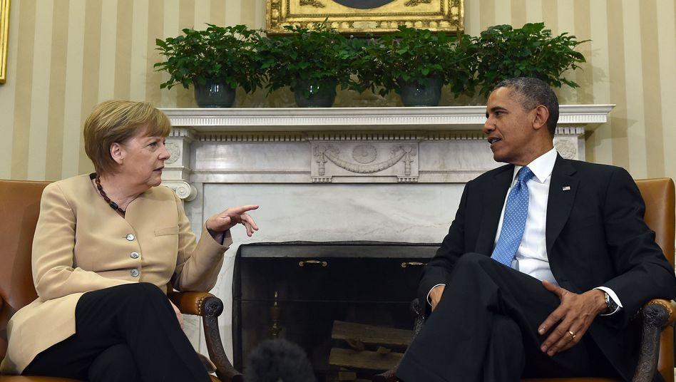 Kanzlerin Merkel, Präsident Obama (im Mai 2014): Keine Waffenlieferung