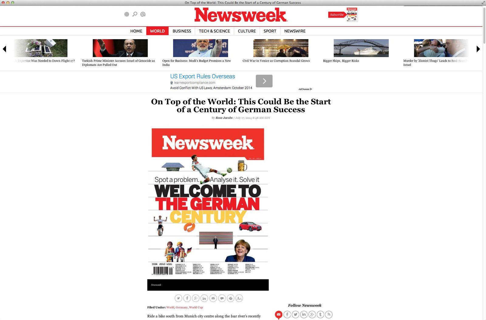 EINMALIGE VERWENDUNG NUR ALS ZITAT Screenshot/ Newsweek/ Deutschland