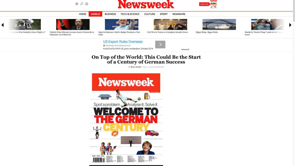 """Newsweek""-Cover: Deutsches Jahrhundert?"