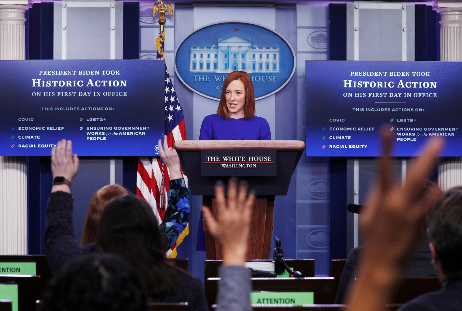 White House Press Secretary Jen Psaki speaks in the James S Brady Press Briefing Room at the White House, after the inauguration of Joe Biden as the 46th President of the United States