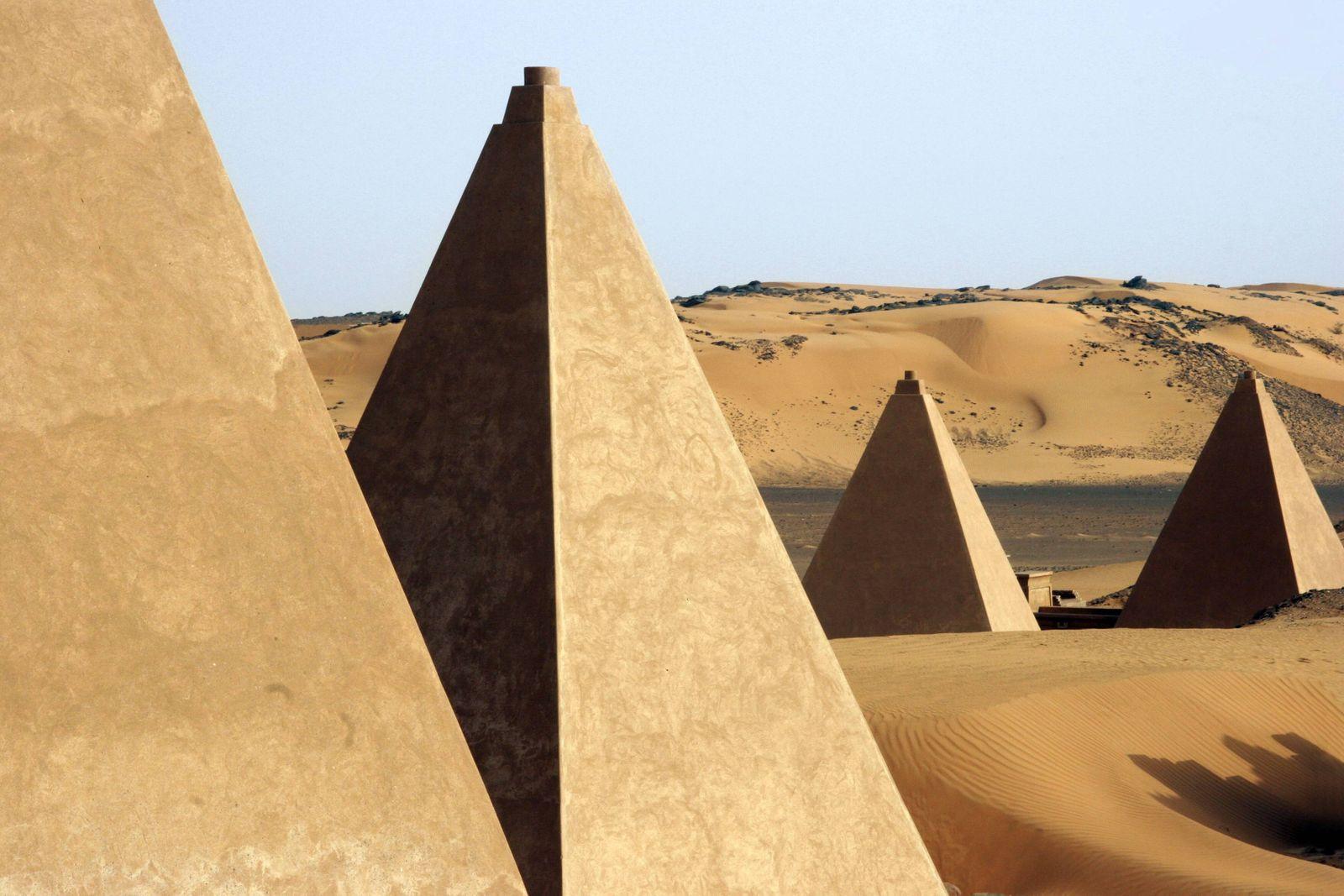 Pyramids of Meroe Begarawiyah in the Nubian desert of Sudan North Africa PUBLICATIONxINxGERxSUIxA
