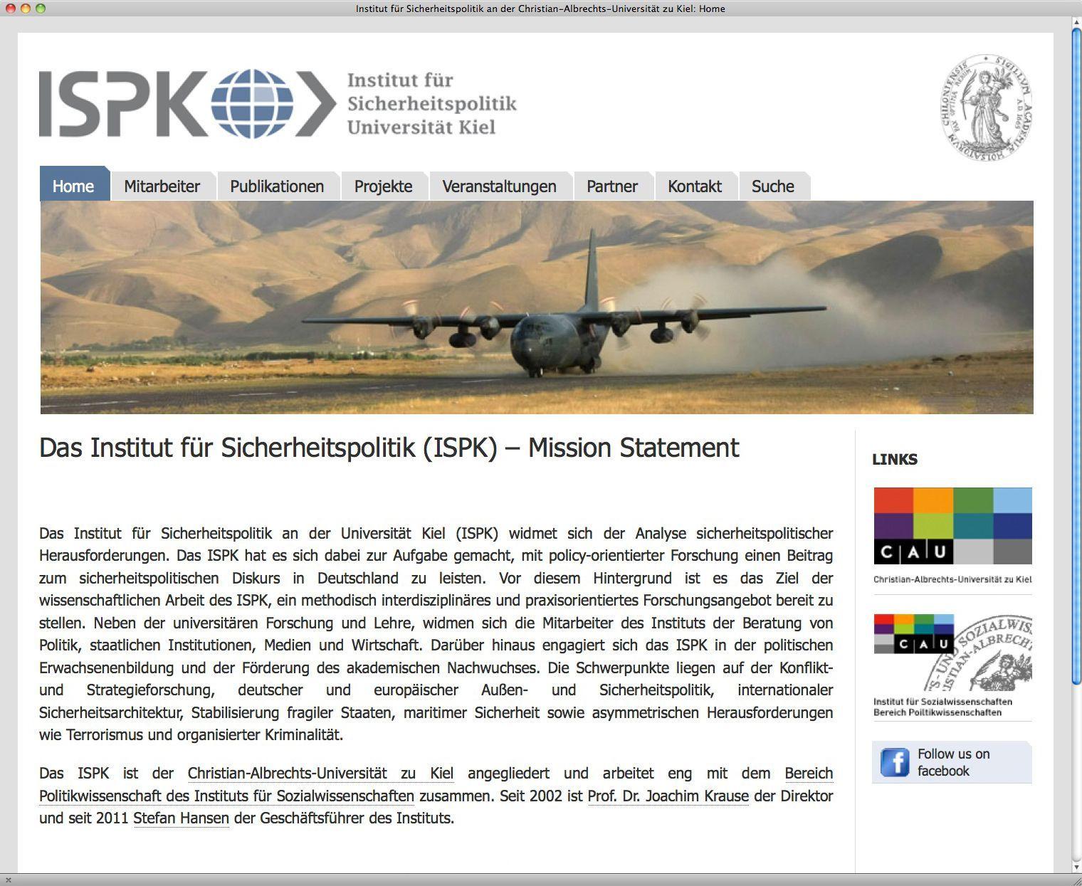 EINMALIGE VERWENDUNG NUR ALS ZITAT Screenshot/ Zivilklausel/ Institut fÃ?r Sicherheitspolitik/ CAU Kiel