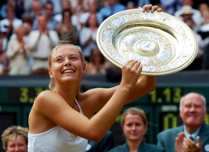 Maria Sharapova in 2004 at Wimbledon: the 17-year-old and her plate trophy