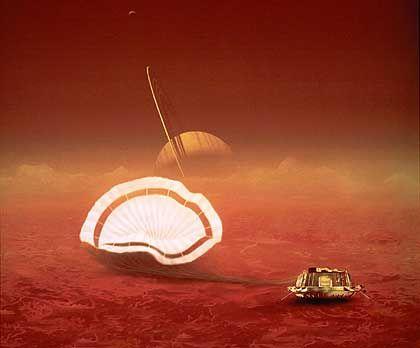 """Zeichnung: Landung von """"Huygens"""" auf Titan"""