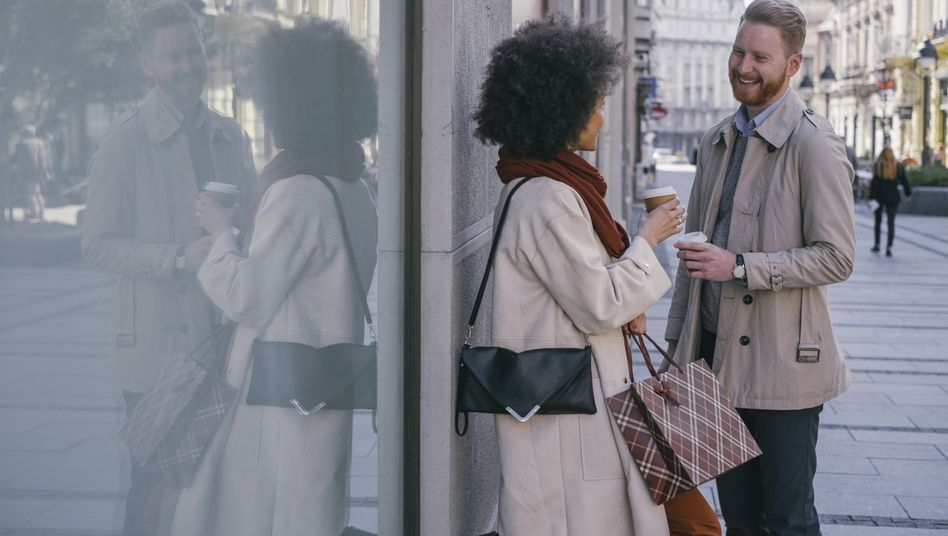 Gespräch in der Fußgängerzone