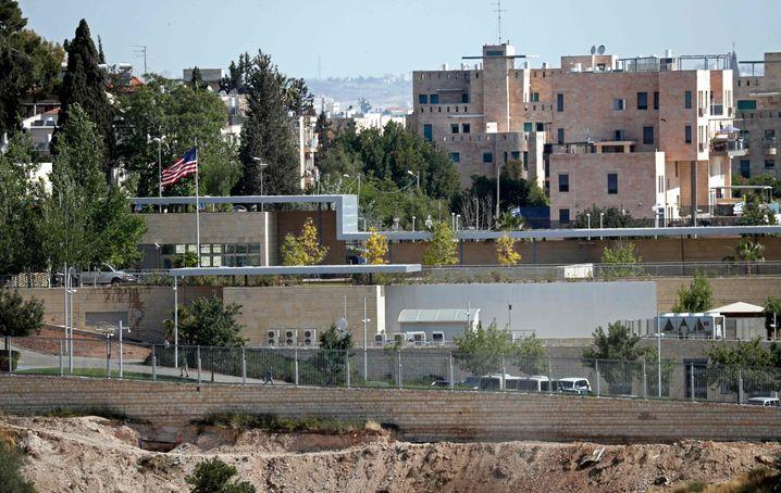 Arbeiten am vorübergehenden Botschaftsstandort in Jerusalem