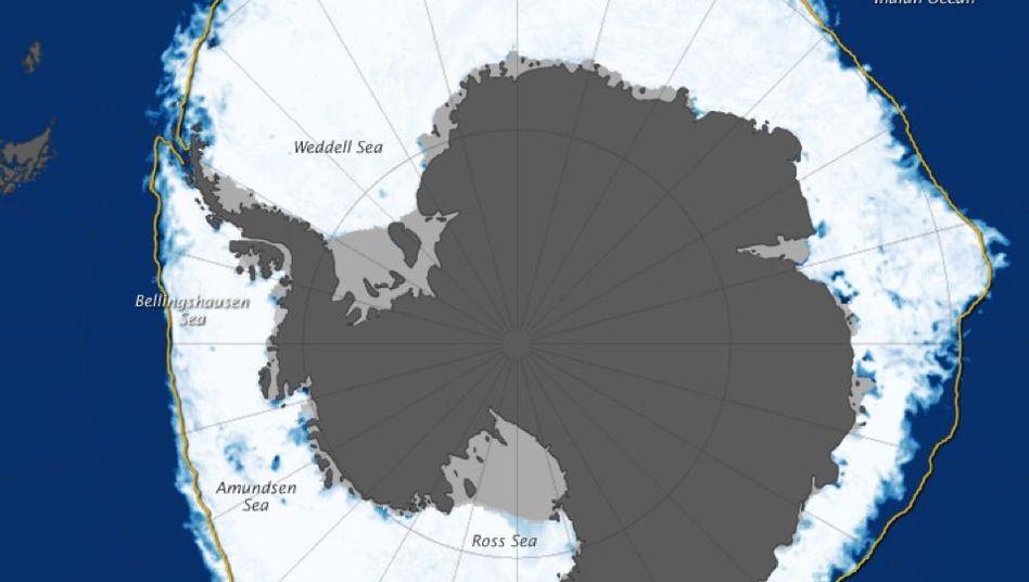 Antarktis: Die Ausdehnung des Meereises (weiß) hat am 22. September einen Rekord erreicht. Die gelbe Linie zeigt den Median der Jahre 1981 bis 2000. Schelfeis ist grau dargestellt.