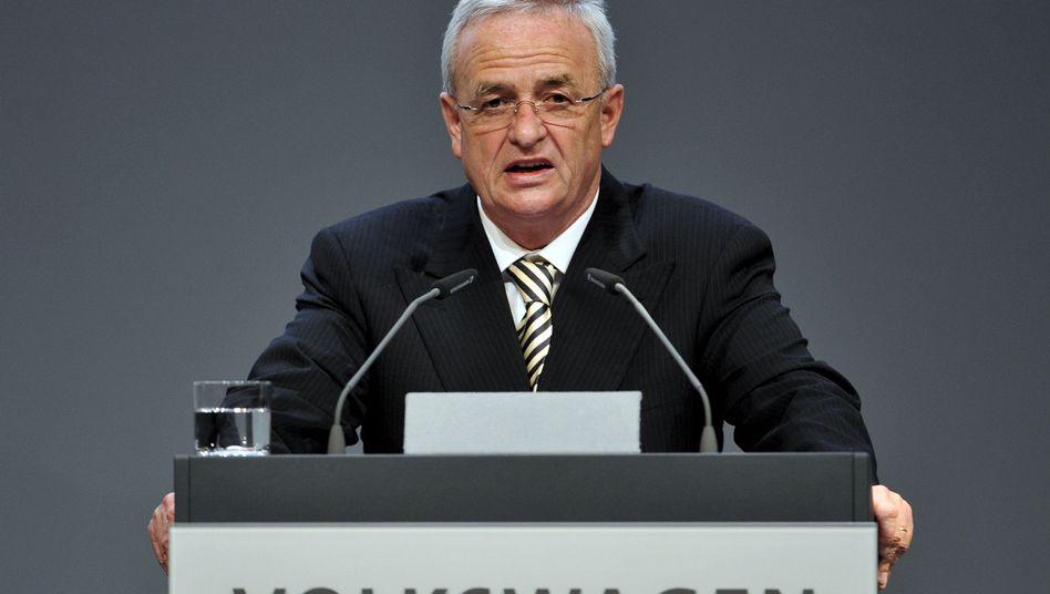 VW-Chef Winterkorn auf der Hauptversammlung: 20 Milliarden Euro in der Kasse