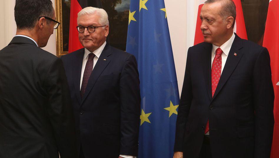 Recep Tayyip Erdogan (rechts), Frank-Walter Steinmeier (Mitte), Cem Özdemir (links)