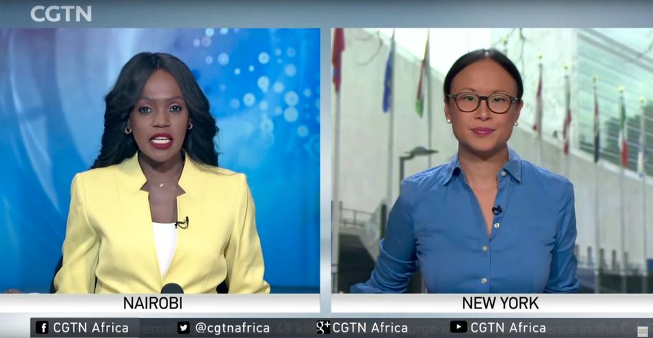 A screenshot of journalists with broadcaster CGTN