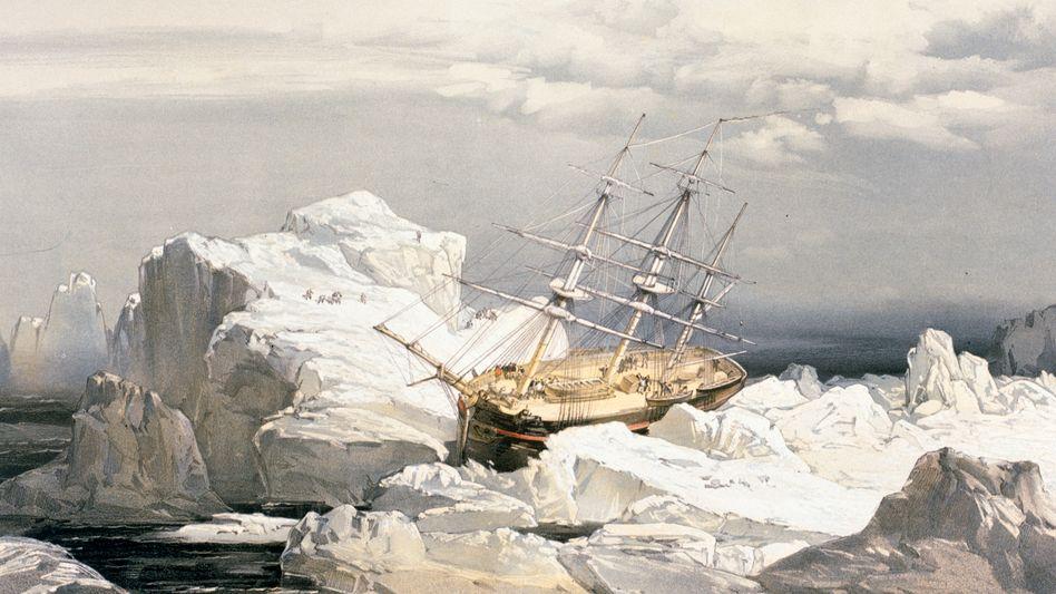 Wie unwirtlich die Gegend war, die Bering erkundete, zeigt diese Darstellung der Beringinsel von 1851