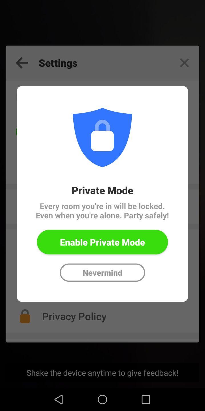 """Übers Menü anschaltbar: Der """"Private Mode"""" bewahrt einen vor ungebetenen Gästen im Chat. Alternativ lassen sich einzelne Räume per Tippen auf ein Schloss-Symbol schließen"""