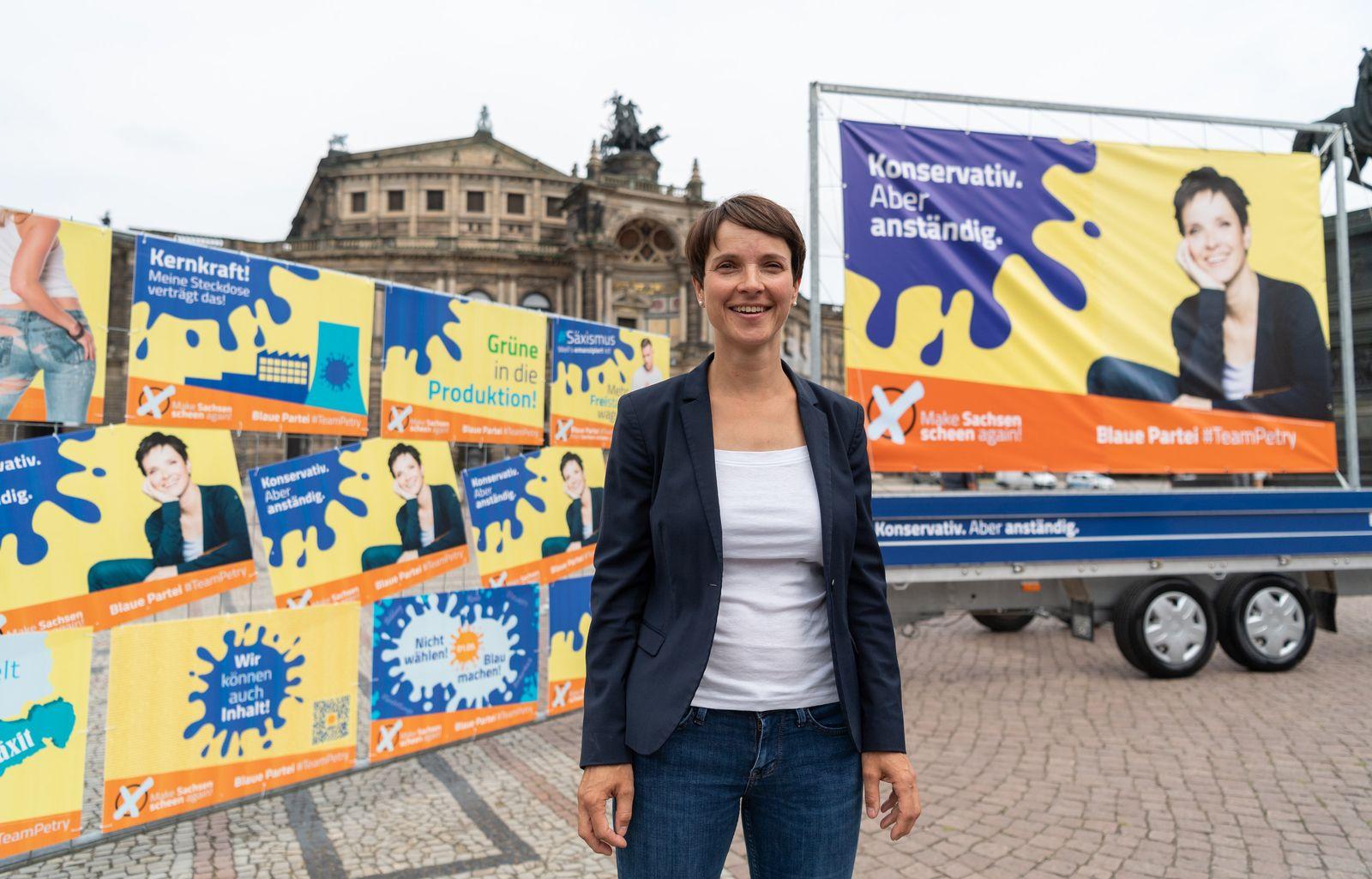 Vorstellung blaue Kampagne zur Landtagswahl in Sachsen