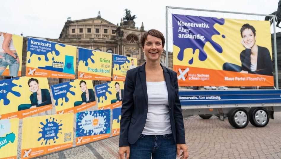 Ex-AfD-Chefin Frauke Petry bei der Präsentation ihrer Wahlkampagne im Juli in Dresden