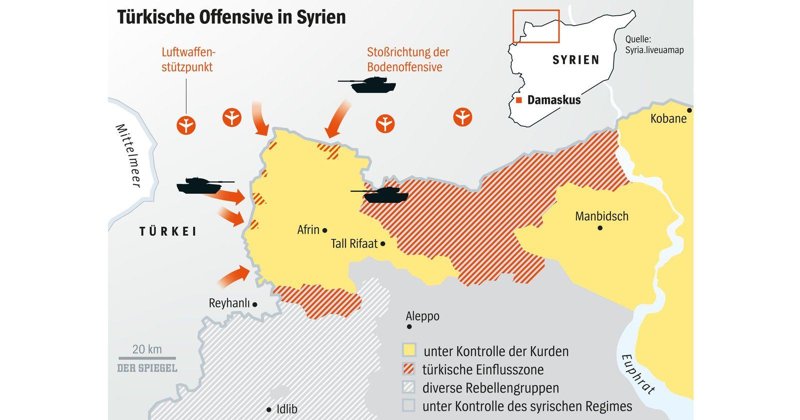 EINMALIGE VERWENDUNG SPIEGEL 5/2018 S.78 Karte Türkische Offensive Syrien