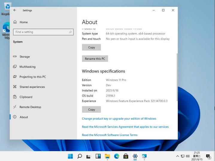 Screenshot aus den Systemeinstellungen: »Edition: Windows 11 Pro«