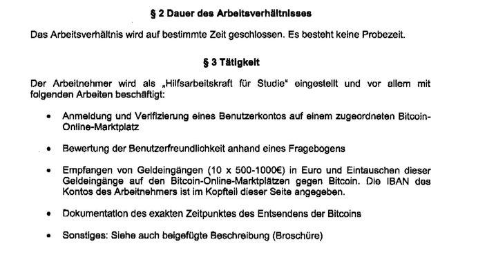 Auszug aus dem Vertrag zur falschen Bitcoin-Studie