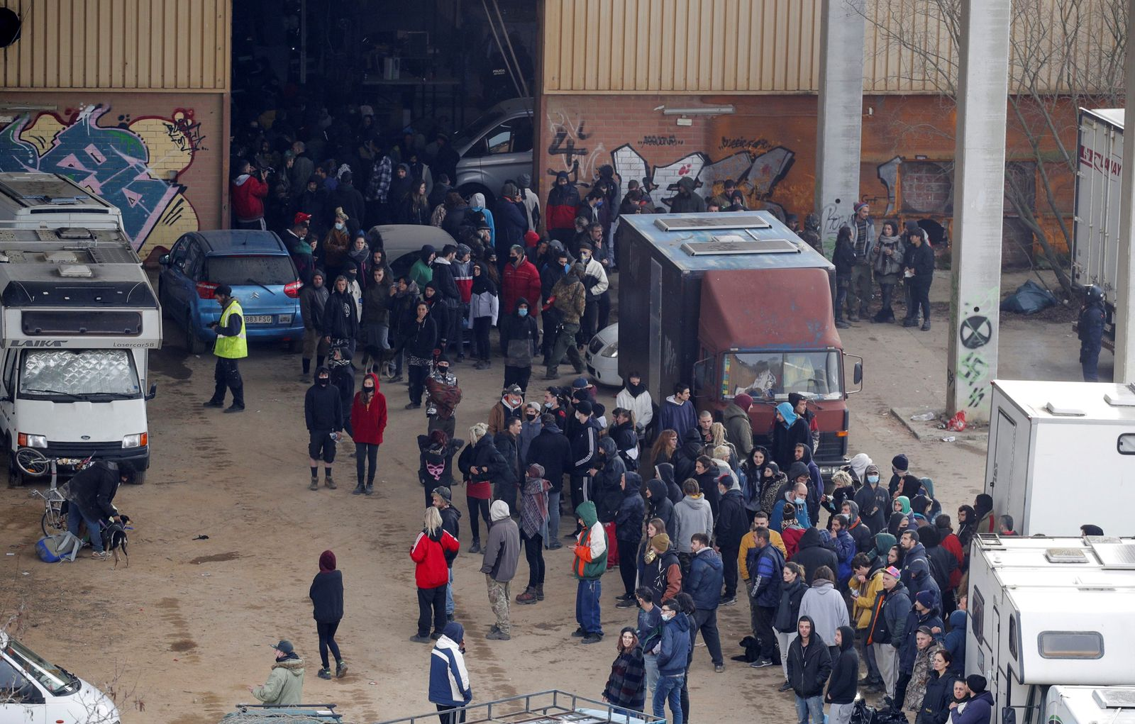 Illegal rave starting on 31 December is evicted on 02 January, Llinars Del Valles Barcelona, Spain - 02 Jan 2021
