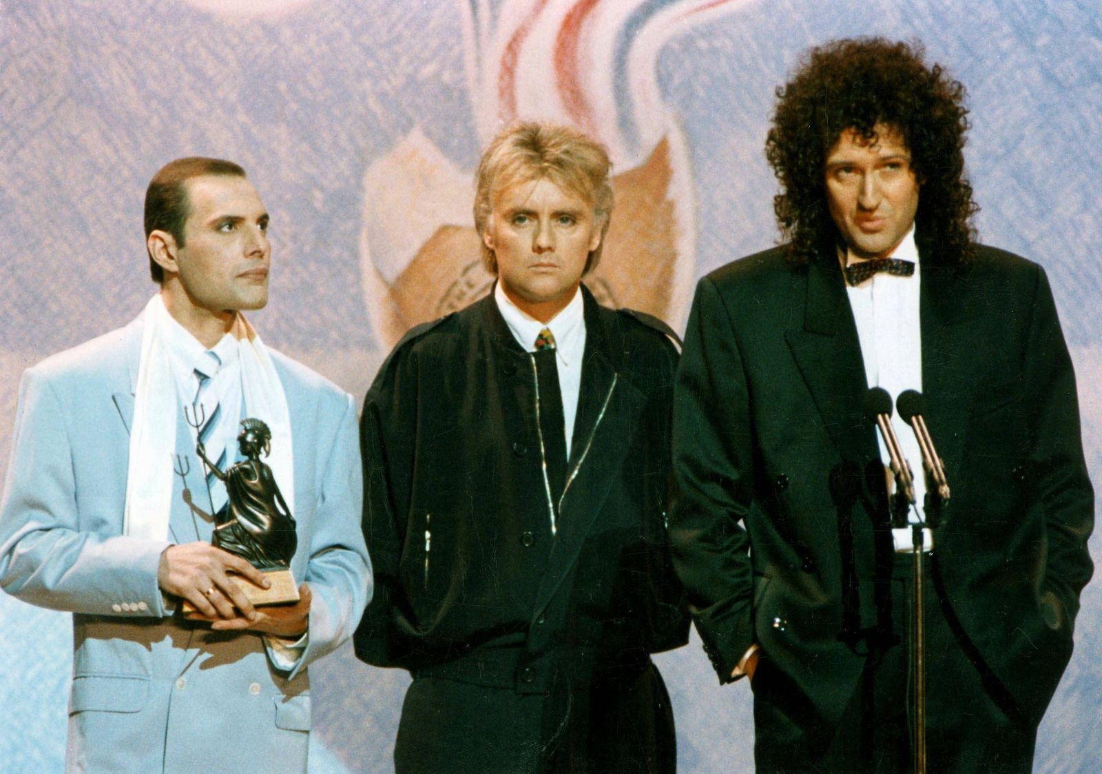 February 1990: Three members of the British rock group Queen , (l-r) Freddie Mercury, Roger Taylor and Brian May at the