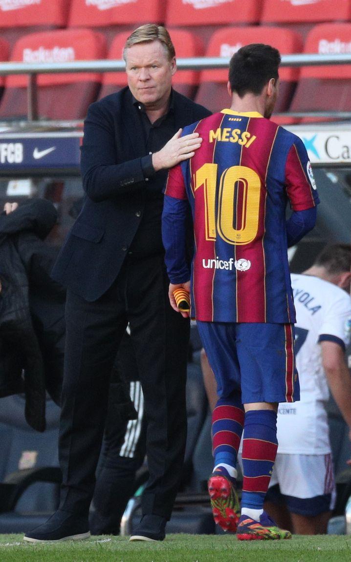 Barcelonas Trainer und Legende: Koeman und Messi