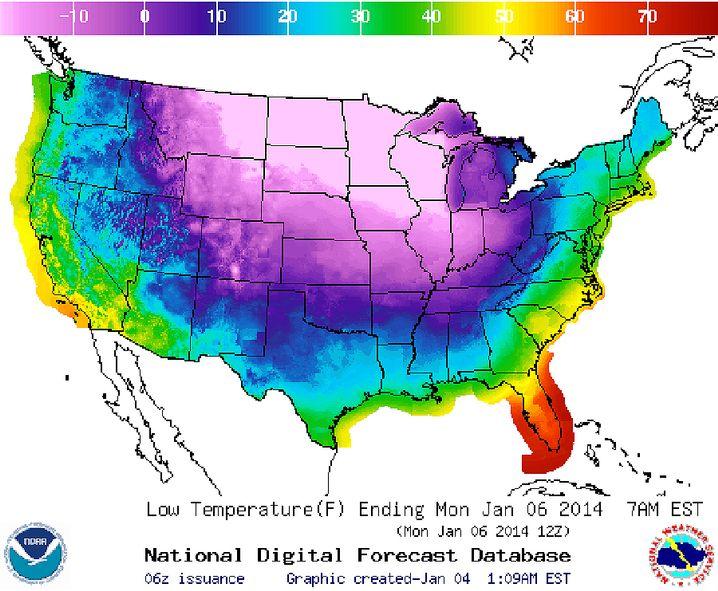 Tiefstwerte Montagmorgen: Minus 20 Grad Fahrenheit entsprechen minus 28,8 Grad Celsius