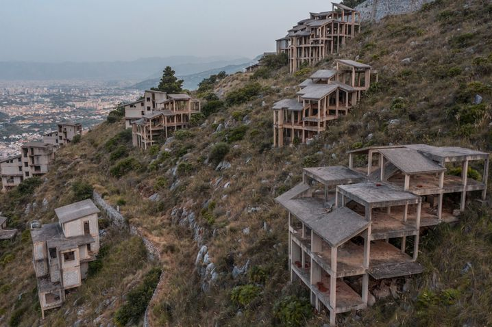 """Mafia ruins at """"Pizzo Sella"""": Illegal villas, confiscated by the state, slowly crumbling on the Gulf of Palermo."""