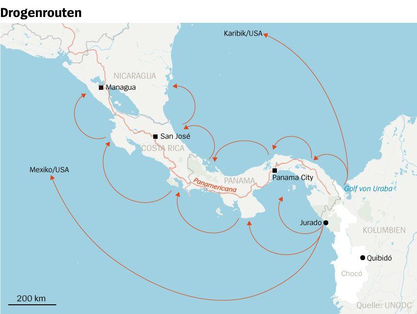 Karte Drogenrouten Kolumbien - Mittelamerika