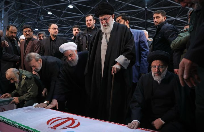 Iranian Supreme Leader Ayatollah Ali Khamenei (center) at Qassem Soleimani's funeral ceremony.