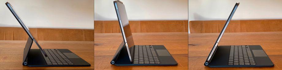 Das Scharnier ist so robust, dass es das iPad Pro in beinahe beliebigen Winkeln festhält