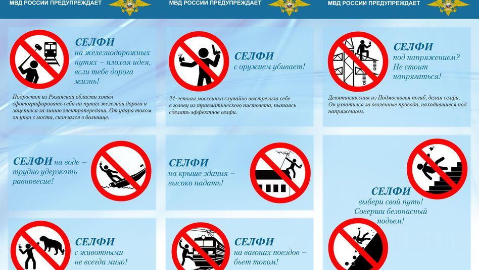 Piktogramme der Selfie-Kampagne: Keine Selbstporträts auf Strommasten