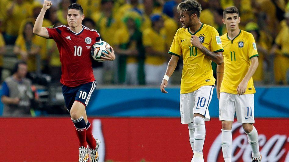 Jungstars James (l.) und Neymar: Kampf um Platz drei zur Weltfußballer-Wahl