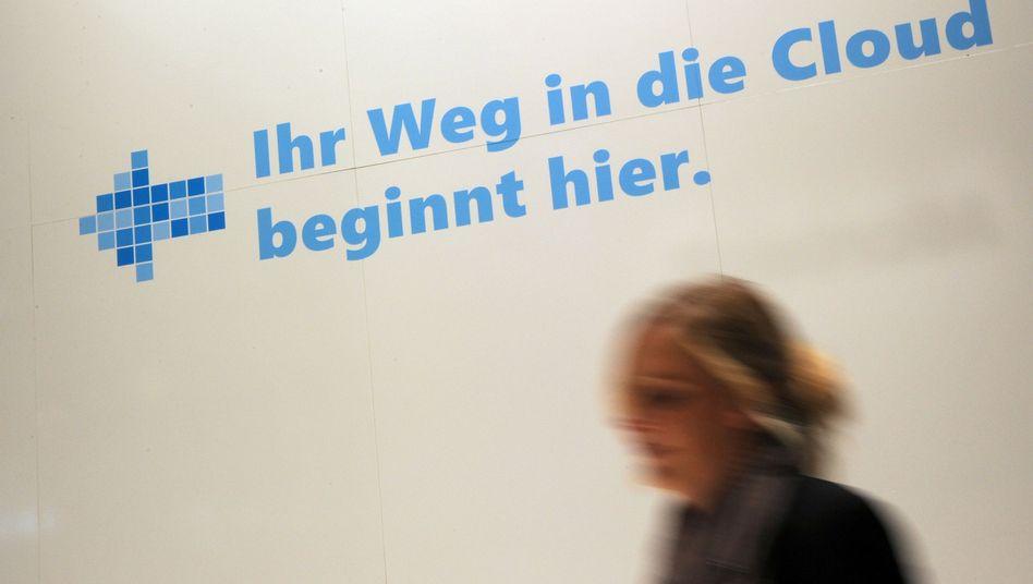 Microsoft-Werbung auf dem Messegelände in Hannover